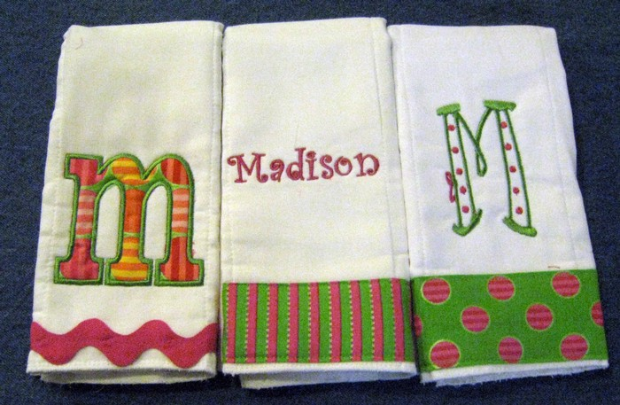 Preppy Pink & Green Trio Burp Cloth
