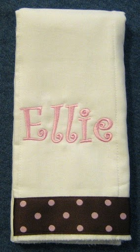 Curlz Font 2 with Polka Dot Trim Burp Cloth