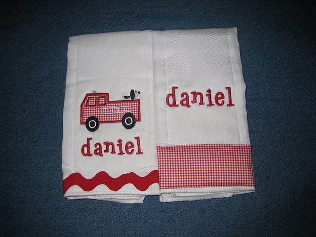 Red Gingham Firetruck Burp Cloth