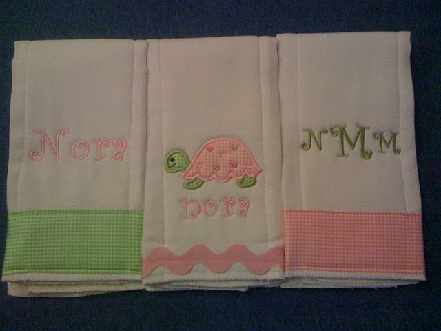 Pink & Green Gingham Turtle Burp Cloth