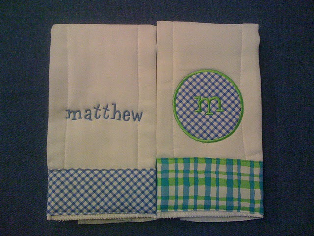 Blue & Green Gingham or Plaid Burp Cloth