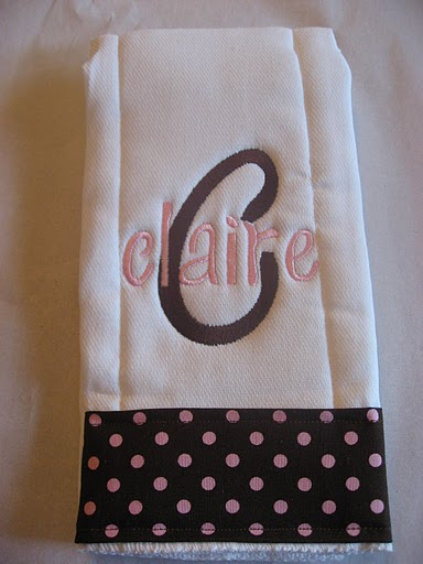Pink & Chocolate Brown Polka Dot Burp Cloth