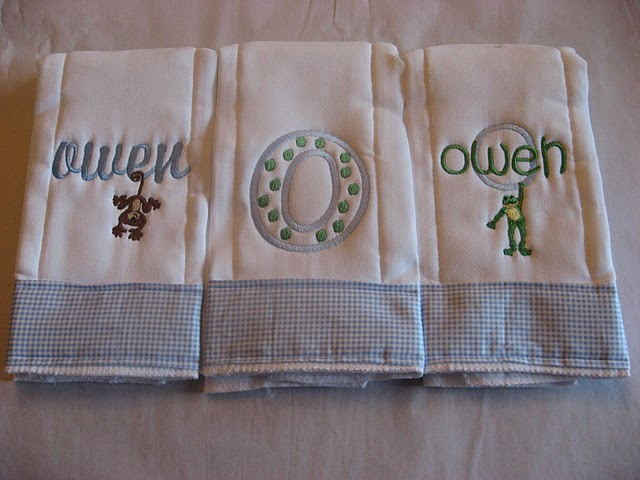 Hanging Monkey, Dotty Monogram or Hanging Frog Burp Cloth