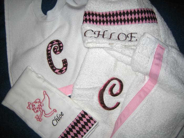 Pink & Chocolate Argyle Poodle Hooded Towel