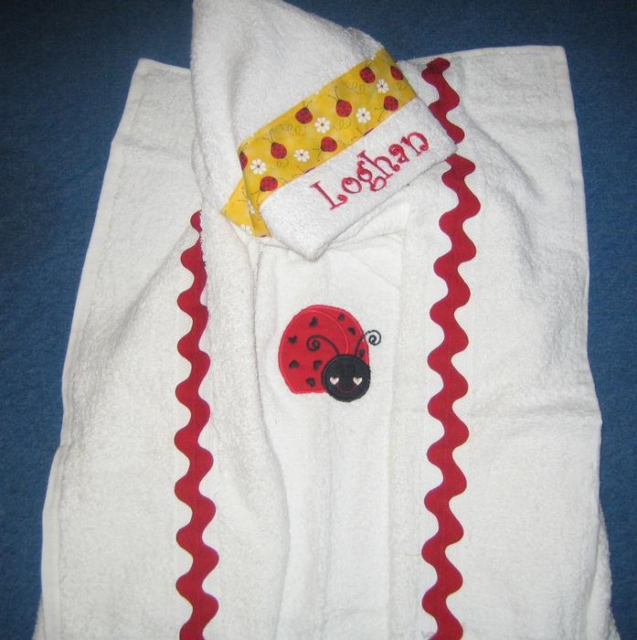 Red Ladybug Hooded Towel
