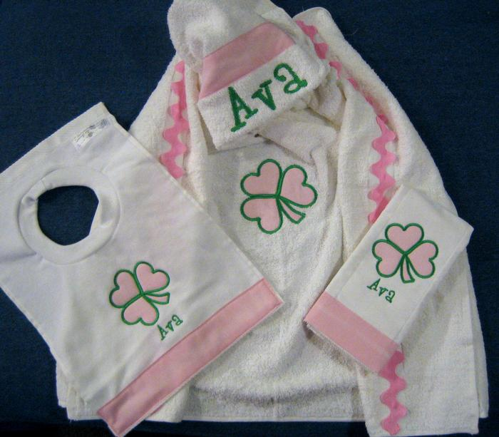 Pink & Green Shamrock Hooded Towel