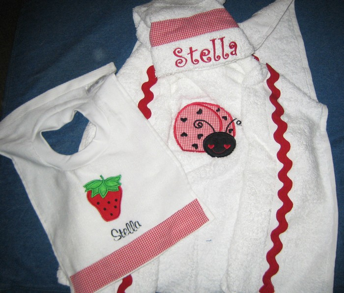Red Strawberry and Ladybug Hooded Towel