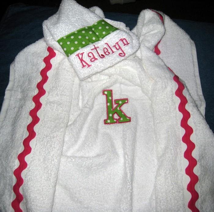 Preppy Pink & Green Polka Dot Hooded Towel