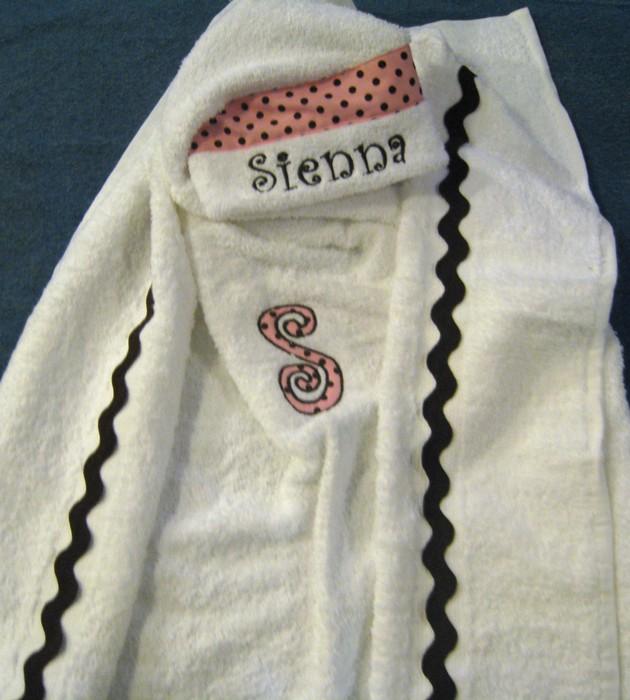 Polka Dot and Ric Rac Hooded Towel