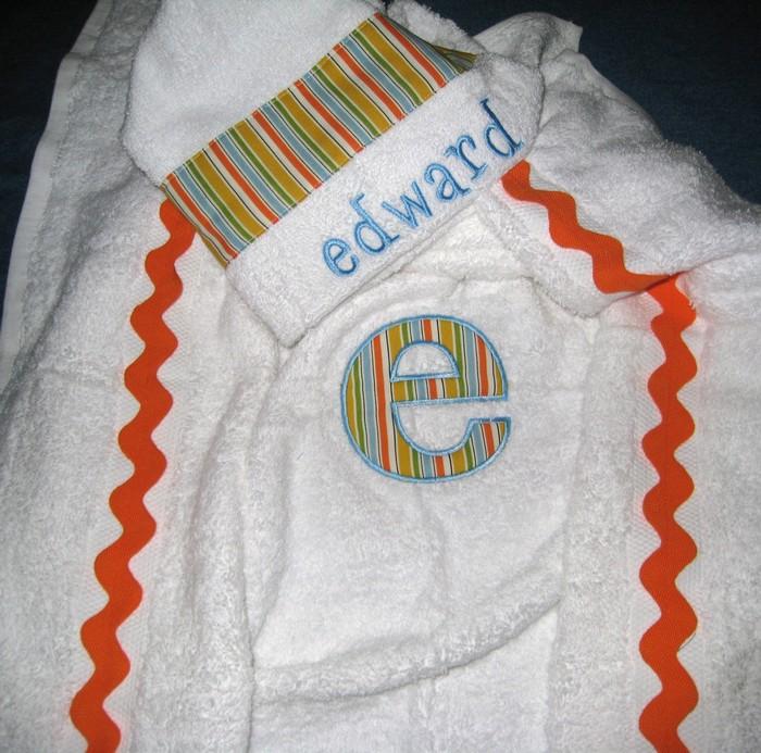 Turquoise & Orange Striped Hooded Towel