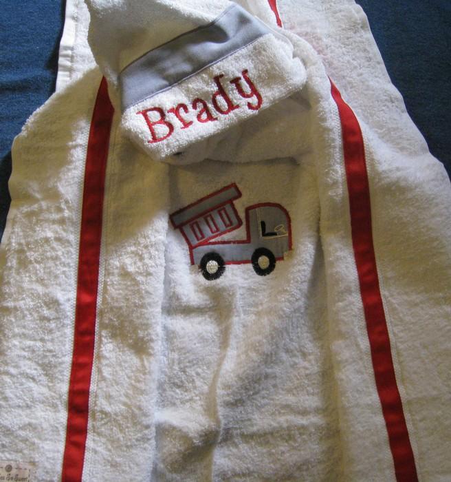 Little Boy Dump Truck Hooded Towel