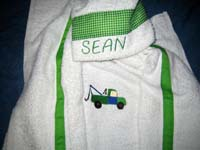 Green Tow Truck Hooded Towel